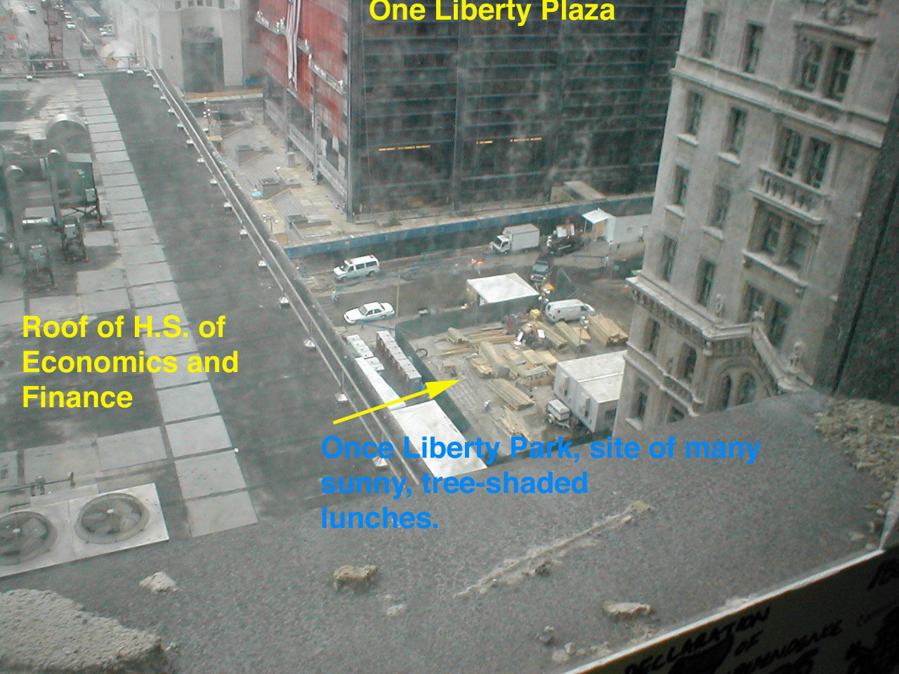 What's left of Liberty Park--nee nice sunny tree-friendly lunch spot