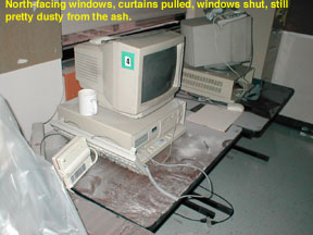 The ash came through the north-facing windows