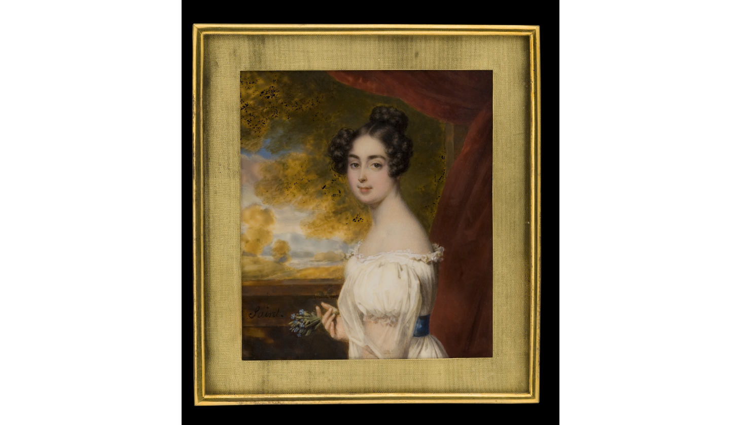Lady in White Dress with Posy of Forget-Me-Nots circa 1830